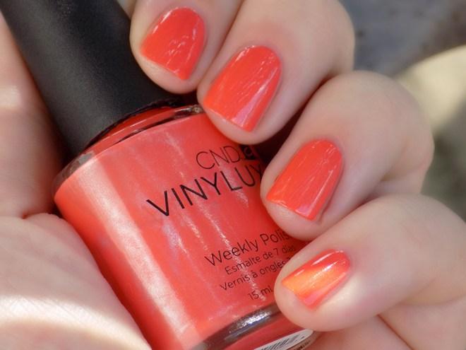 CND Vinylux Desert Poppy Nail Polish Shade vs Light Swatch