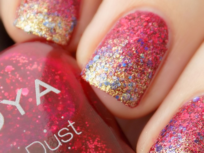 Zoya Oswin and Essie On A Silver Platter Swatch Closeup