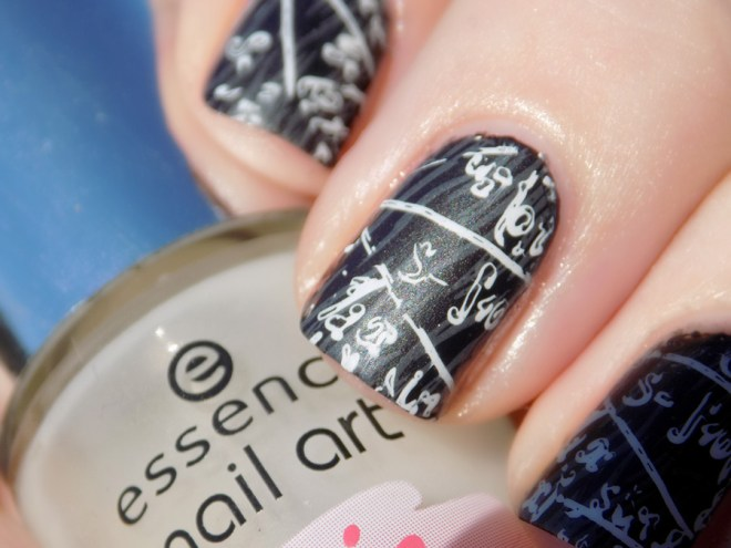 Back to School Essence Stamped  Chalkboard Scientific Equation Nailart Closeup