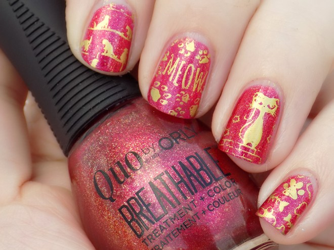 Cat Day Nails with Orly Breathable Stronger Than Ever Swatch Stamped