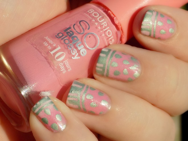 Watermelon Nail Art Bourjois Peachy MdU Forest Swatch 2