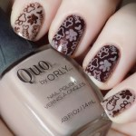 International Cat Day Nail Art - Stamped Cat Paws Nail Art Swatch - Quo Barely There