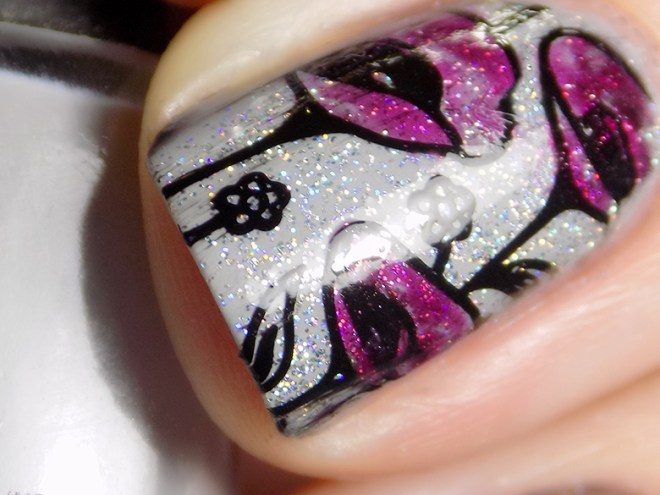 31DC2016 Day 13 Flowers - Born Pretty - Quo Runway Ready - Macro Swatch of Floral Stamping using Essie Highest Bidder