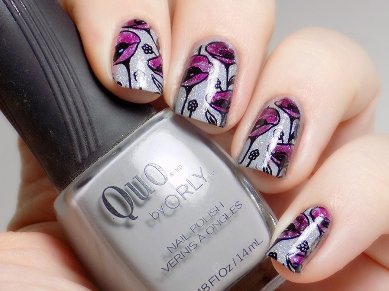 31DC2016 Day 13 Flowers - Born Pretty - Quo Runway Ready - Swatch of Floral Stamping using Essie Highest Bidder