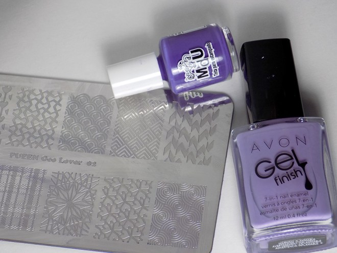 31DC2016 Day 16 - Geometric - Avon Lavender Sky and MdU Fantasy - Pueen Geo Lover 02