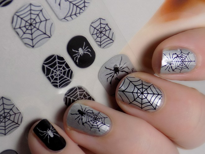 Dollarama Halloween Nail Options - Full Nail Wraps Spiders