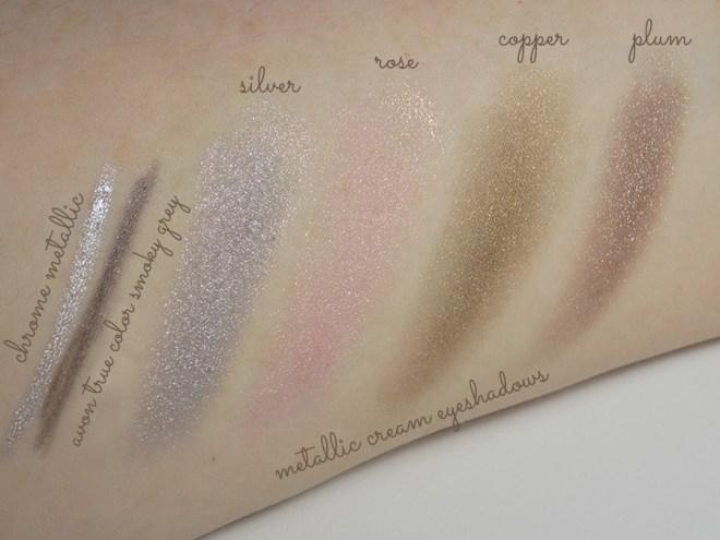 Avon Mega Metals - Metal Mania - Metallic Eye Trends - Avon Metallic Cream Eyeshadow Swatches, Silver, Rose, Copper, Plum Metallics