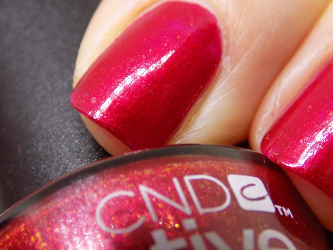 CND Creative Play - Crimson Like It Hot Review and Swatches - Close Up Swatches Artificial Light