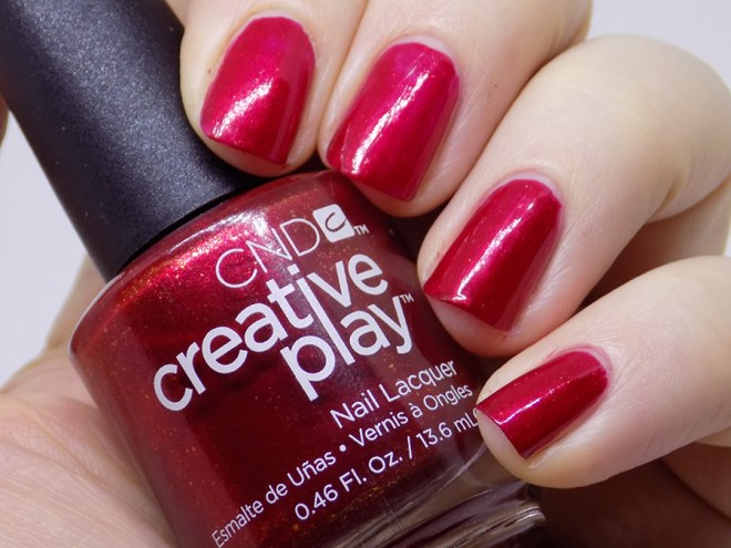 CND Creative Play - Crimson Like It Hot Review and Swatches - Swatches Artificial Light