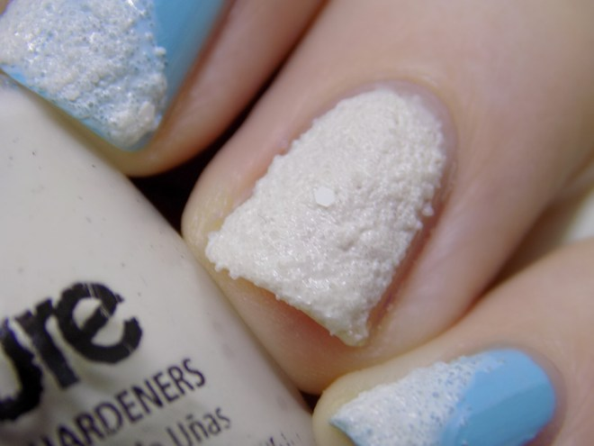 Snowy Manicure - Loreal Wispy Clouds 727 and China Glaze Theres Snow One Like You Manicure - Close Up Swatches Snow