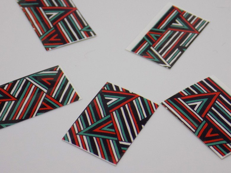 BPY03 Decals - Turquoise Green - Red - Black Geometric Water Decals Cut