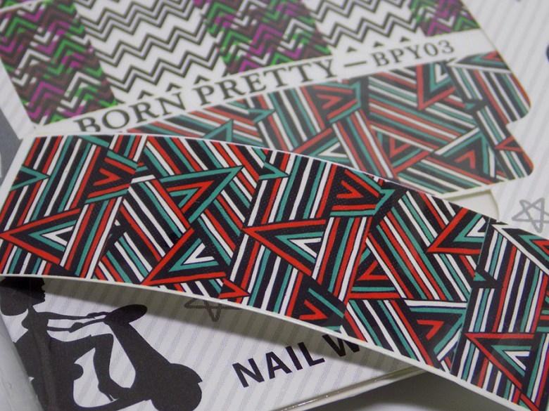 BPY03 Decals - Turquoise Green - Red - Black Geometric Water Decals