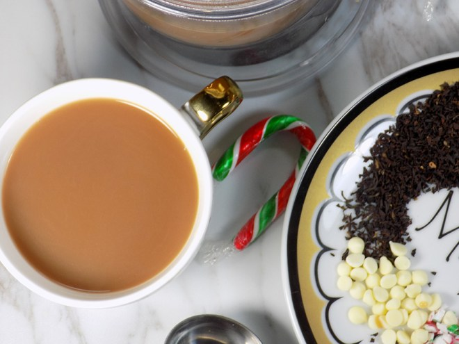 Make Your Own White Chocolate Peppermint Tea - Candy Cane Crush Tea - Brewed