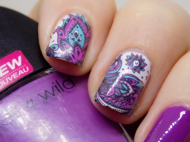Born Pretty Store BP-W19 Turquoise and Purple Water Decals Closeup Swatches
