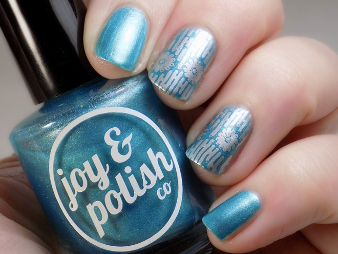Joy and Polish Just Blue-tiful - Stamped Swatch