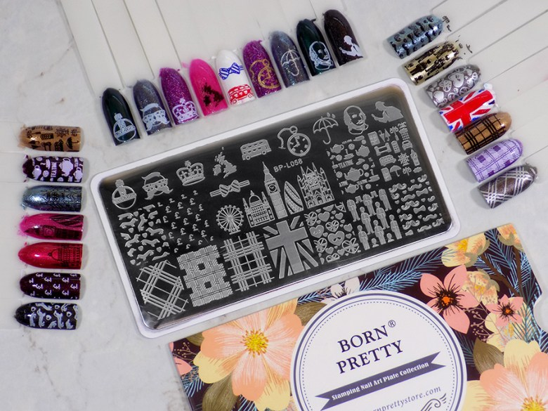 Born Pretty BP-L058 London Stamping Plate Swatches of all images with packaging