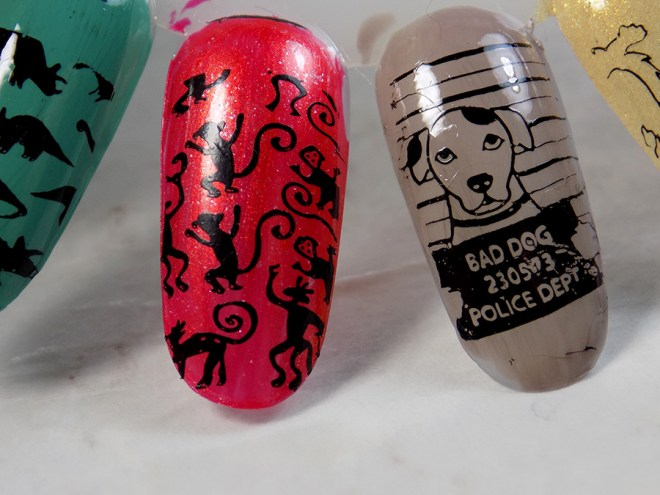 Born Pretty BP-L063 Swatches of Fave Images - Bad Dog and Monkeys Themed Image on BP-L063