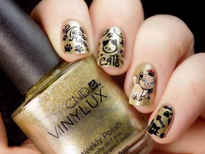 Daisy Manicure - Cat Mani - BP-L063 and BM plates - CND Locket Love