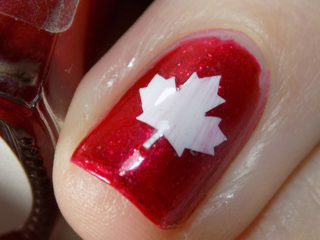 Canada Day Mani - Fiendish Fancies Sleep Eludes Me - Kayla Ray Vinyls Maple Leaf Closeup