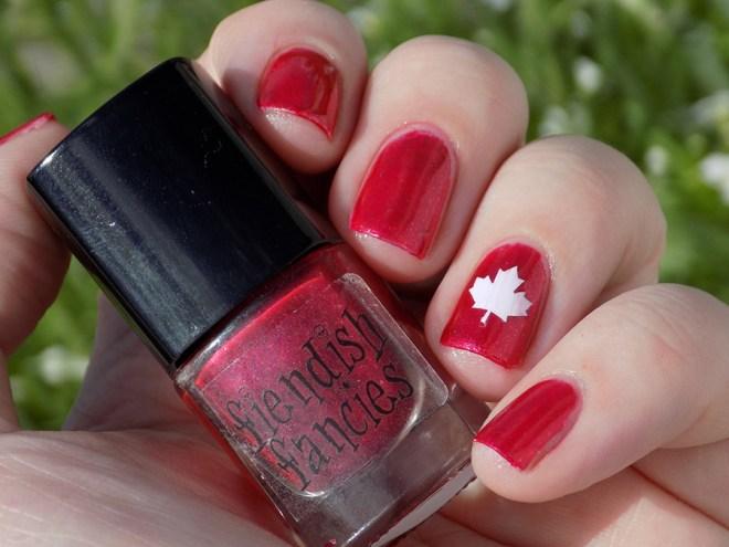 Canada Day Mani - Fiendish Fancies Sleep Eludes Me - Kayla Ray Vinyls Maple Leaf