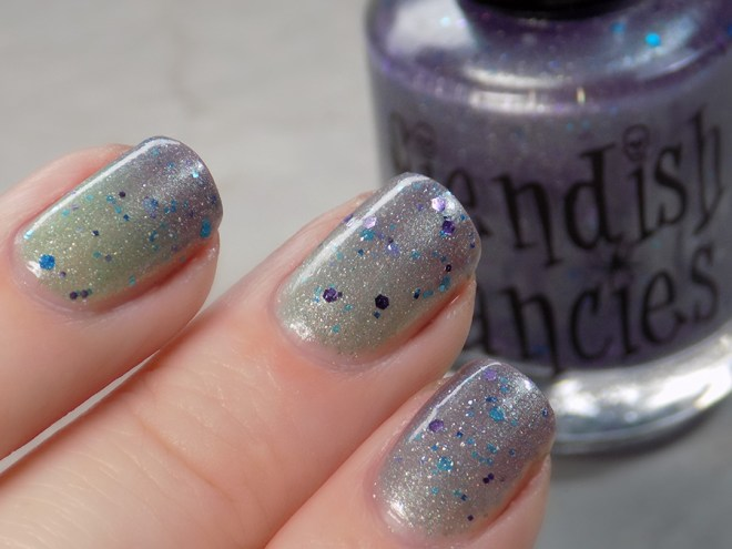 Fiendish Fancies 2nd Anniversary Polish - I Want My Cake Swatches and Review Thermal Polish