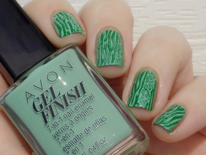 Avon Gel Finish Clover Nail Polish Swatch Stamped with MdU High Green polish and XYZ26 stamping plate