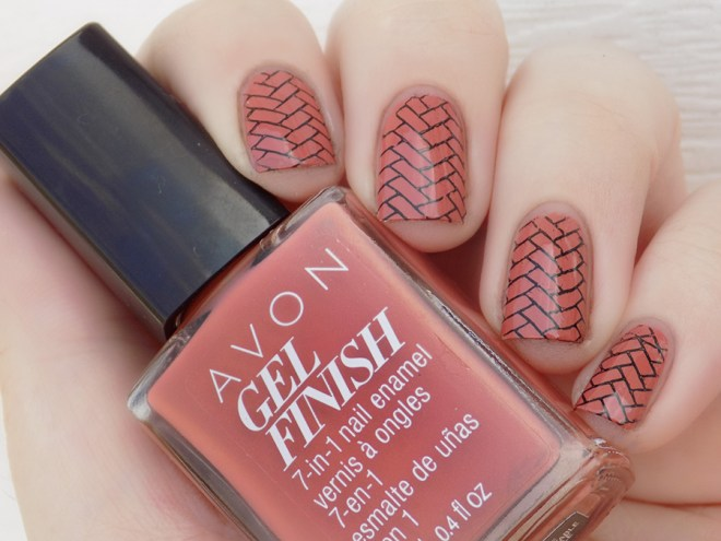 Avon Gel Finish Terracotta Nail Polish Stamped with Mdu Black and XY-Z01 stamping plate swatch