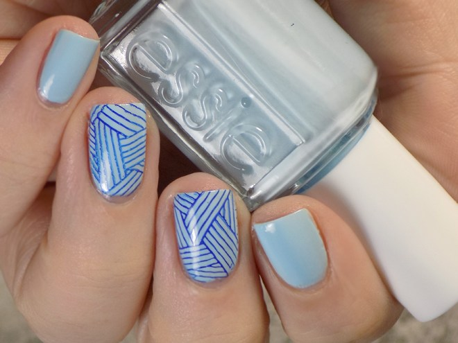 Essie Blue La La - Summer 2017 - Stamped with MdU Navy and BP-L060 - Swatches