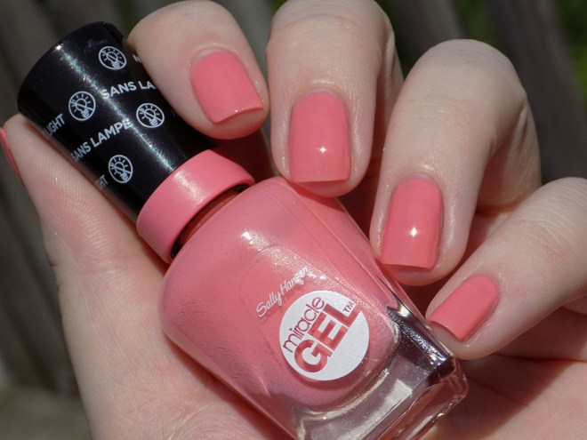 Sally Hansen Miracle Gel 180 Rosey Riviter Swatches Full Sun