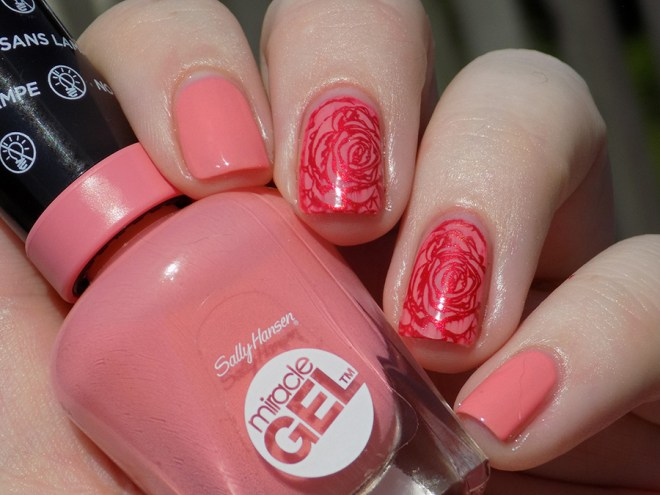 Sally Hansen Miracle Gel 180 Rosey Riviter Swatches - Stamped with Hit The Bottle Drop red Gorgeous and BPL001