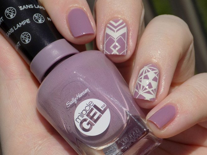 Sally Hansen Miracle Gel 559 Street Flair Swatches stamped with BP-L054