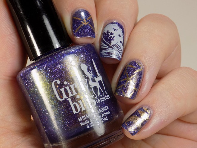 Below Deck Inspired Nail Art - Using Girly Bits Lost in the PATH and BM-XL25 Swatches