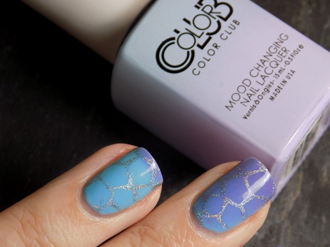 Color Club Mood Polish Blue Skies Ahead Stamped with BM-XL17