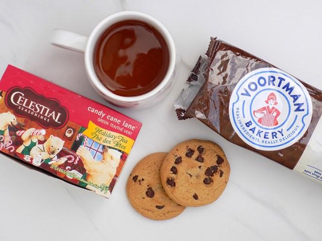 Celestial Seasonings Candy Cane Lane Holiday Tea Review - Voortman Cookies