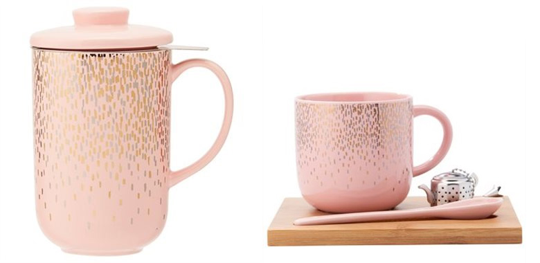 Chapters-Indigo Tea Lovers Gift Guide - Pink Falling Confetti Tea Set and Perfect Tea Mug