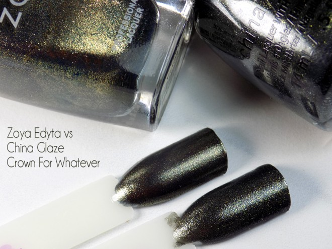 Zoya Edyta compared to China Glaze Crown for Whatever - Swatches