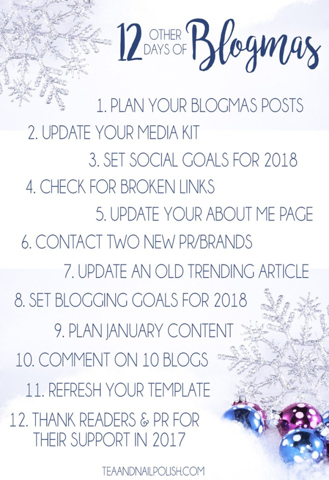 12 Other Days of Blogmas 2017 - Blogging Goals