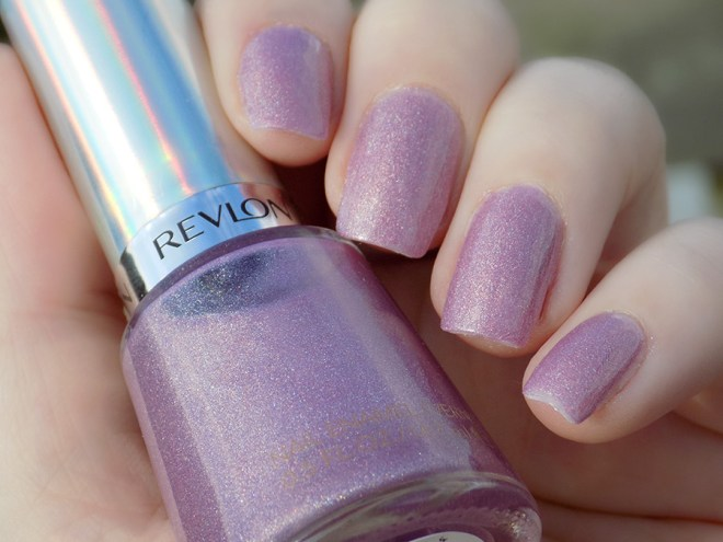 Revlon Galactic Pink Holographic Polish Swatches Holochrome Collection 2017 - Swatch in Partial Sunlight