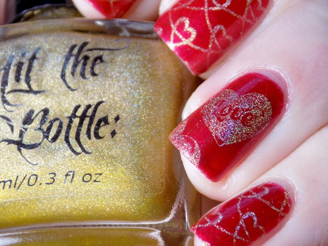 Fiendish Fancies Sleep Eludes Me - Hit The Bottle Glint of Gold - Valentines Day Nails - LOVE Swatches and Review