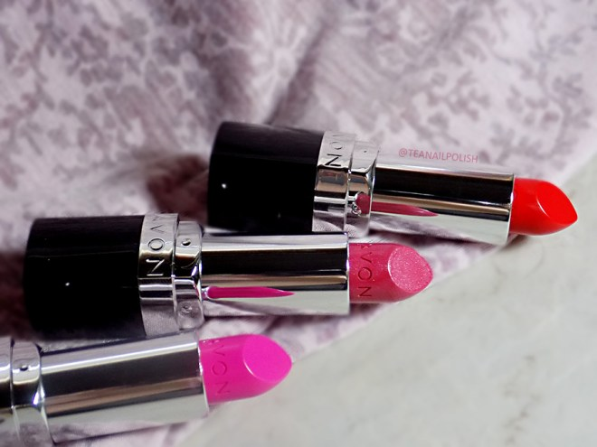 Avon Share The Power of Lipstick - Poppy Love - Fearless Fuchsia - Pink Dream Swatches