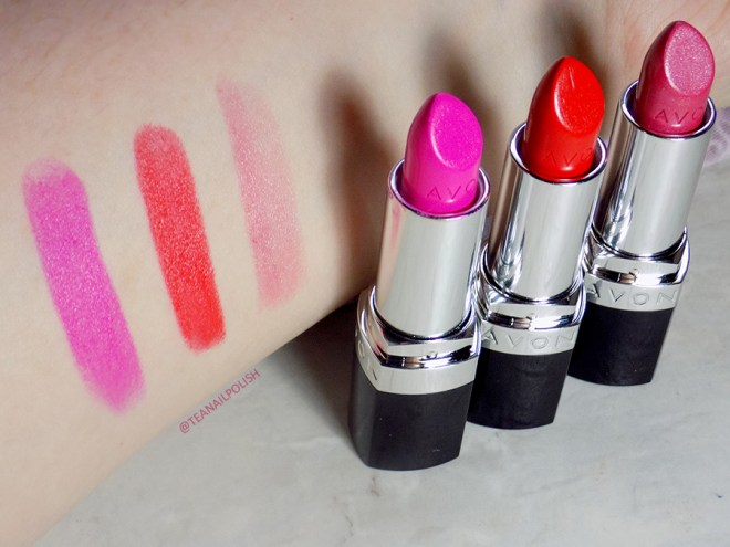 Avon Share The Power of Lipstick - Swatches Poppy Love - Fearless Fuchsia - Pink Dream