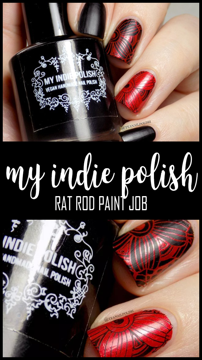 My Indie Polish Rat Rod Paint Job Matte Polish Stamping Polish Swatches Review - PIN