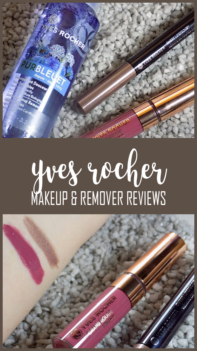 Yves Rocher Pur Bluet Makeup Remover, Grand Rouge L'Elixir in Powdery Mauve & Lifeproof Eyeshadow in Taupe