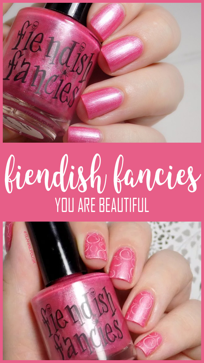 Fiendish Fancies You Are Beautiful Swatches and Review.  Shown below with a sheer white stamping polish and the bubbles from BM-XL25 stamping plate.  Topped with satin matte top coat.
