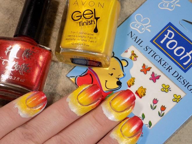 Winnie The Pooh Bear Nails With Kiss Nail Stickers Tea Nail Polish