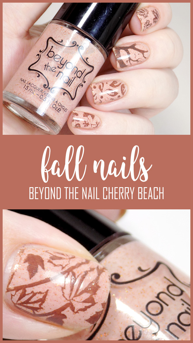 Fall Nails with Beyond the Nail Cherry Beach and MdU Chocolate.  Pueen Nature Lover 02 and BP-L015 and BPL-024 Born Pretty Stamping Plates