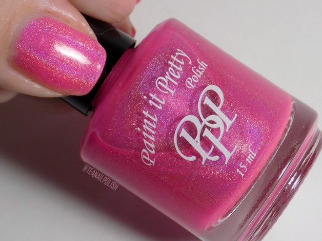 Paint it Pretty Polish Tickle Me Pink Holo Nail Polish Swatches - Bottle Thumb