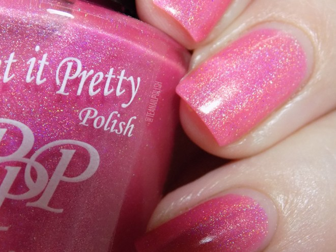 Paint it Pretty Polish Tickle Me Pink Holo Nail Polish Swatches - Closeup Swatches in Artificial Light