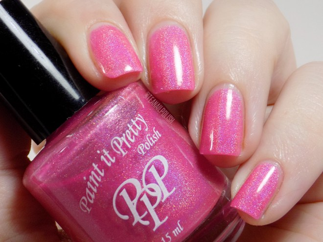 Paint it Pretty Polish Tickle Me Pink Holo Nail Polish Swatches - Swatches in Artificial Light