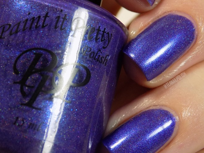 Paint it Pretty Purple Thunder Holo Polish - Closeup Swatch in Artificial Light